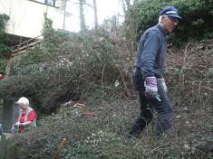 Roden der verwucherten Gartenflächen, ehe die Naturblumenwiese entstehen konnte. Unsere Gruppe h ...