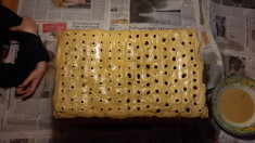 Fertig – unser Herbstferienprojekt, der große Nistblock für Wildbienen. Jetzt hat er Zeit  ...