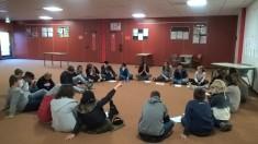 Vorbesprechung, Projektplanung. Schülergruppe aus dem Jahrgang 7 der IGS Kelsterbach.