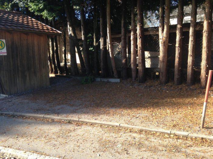 Vorher rechts: neben dem Bushaltehäuschen