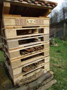 Auch hier sind ab sofort Wohnungen für Wildbienen bezugsfertig. Hotel wird noch weiter ausgebaut.