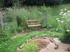 Stachliche Rückendeckung für die Gartenbank.