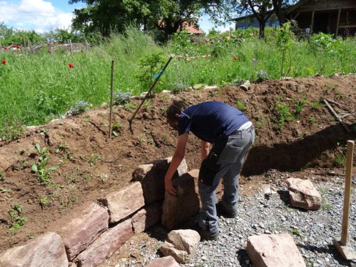Große Steine bilden eine Trockenmauer, um vielfältige und unterschiedliche Lebensräume auch für  ...